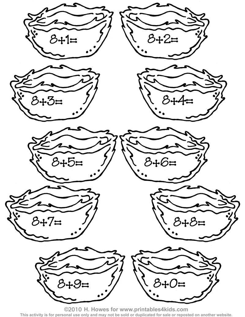 Birds/Nest Addition worksheet | Preschool/Homeschool Ideas ...