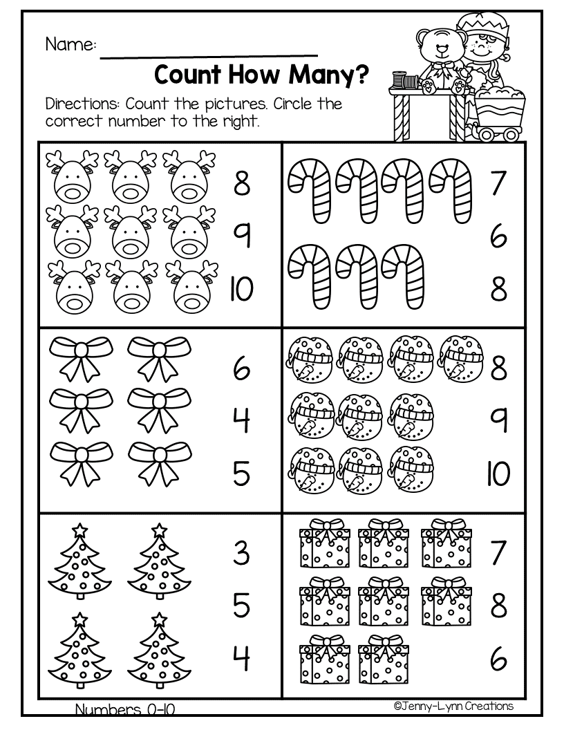 December Pre K Math Literacy Preschool Christmas Worksheets Math Literacy Kids Math Worksheets