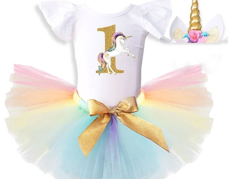 ea5dd901d3199 Cheap Price Ai Meng Baby 1 year birthday dress for baby girl 1st Unicorn  Party outfits Princes dress headband Christening Gown Baby Clothing