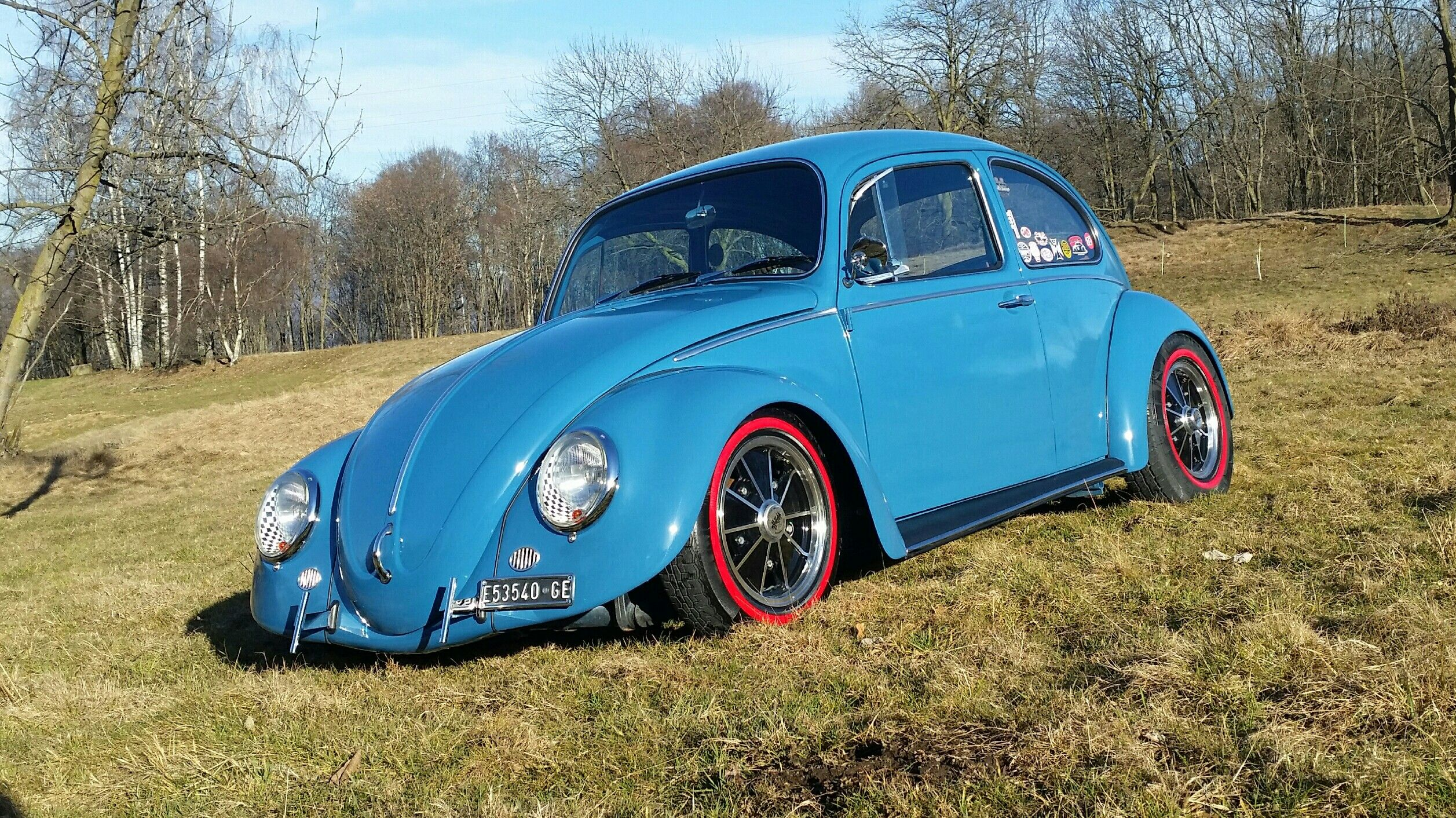 vw beetle bug coccinelle maggiolino cal look vintage cool blue vintage racing [ 2514 x 1412 Pixel ]