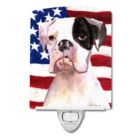 Usa American Flag With Boxer Ceramic Night Light Multicolor