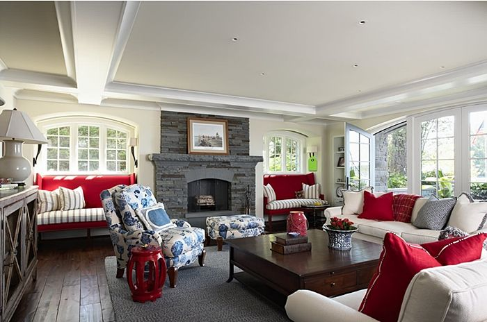 Decorating with Red, White, and Blue | Family room design ...