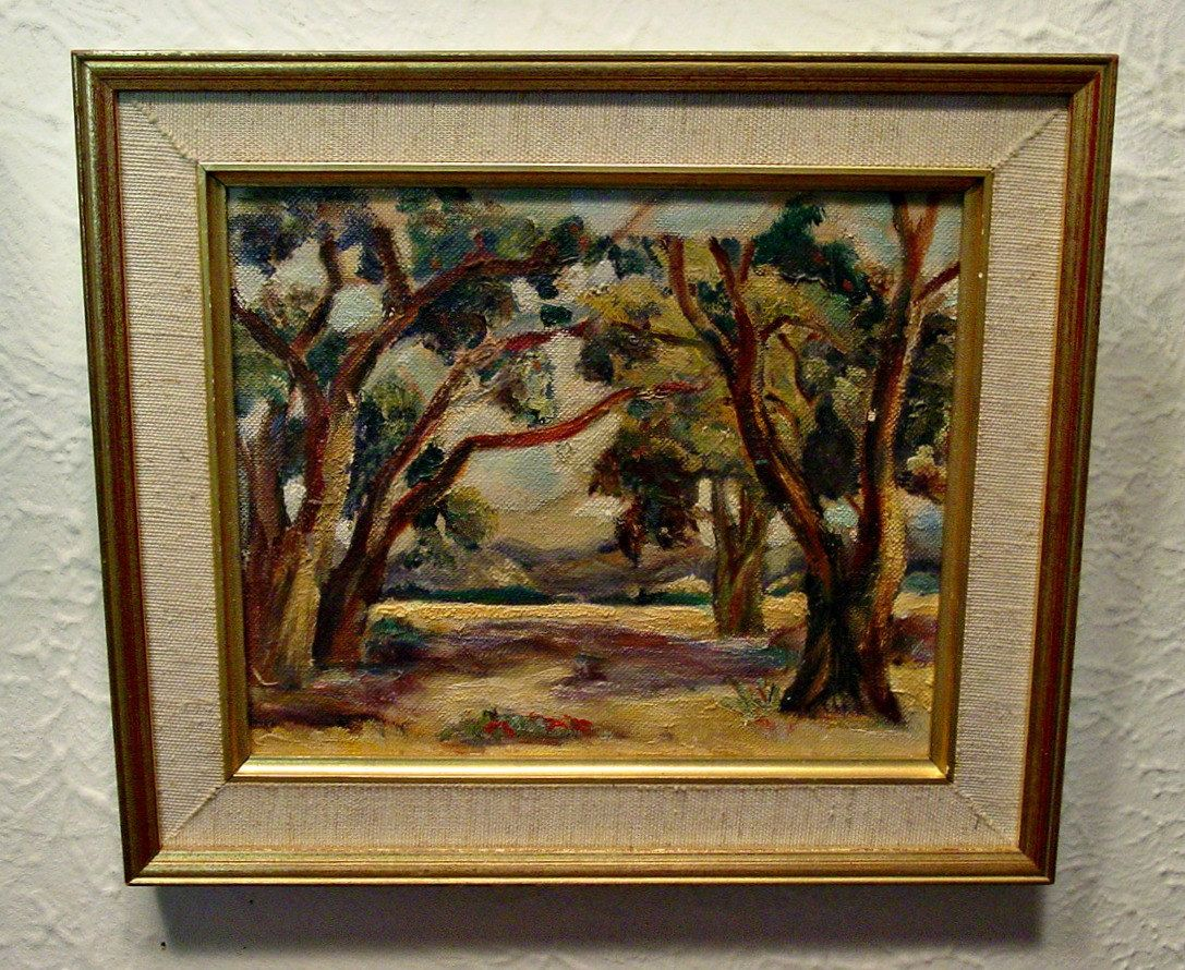 French Country Wall Art vintage oil landscape - oil painting - landscape - french country