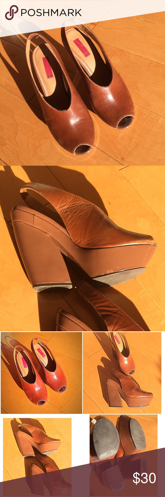 5/ 48 platform shoes brown real leather 5/48 platform shoes  genuine leather brown . Worn . In good condition. Very Minor scuffs, irrelevant for the overall look. Size 7.5 5/48 Shoes Platforms