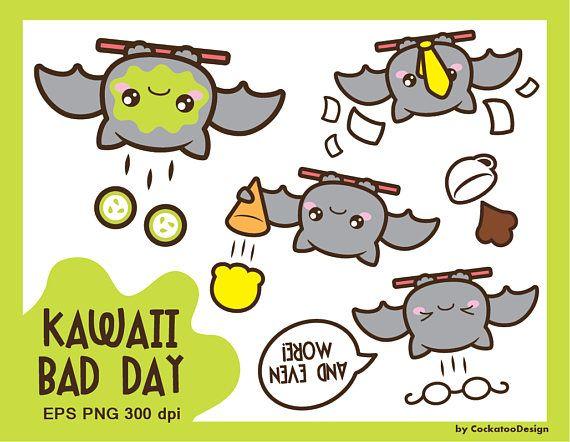 Bat kawaii. Clipart clip art bad