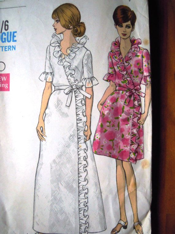 Vintage 1960s Vogue 7431 Robe Frilly Housecoat by FoxVintageUk ...