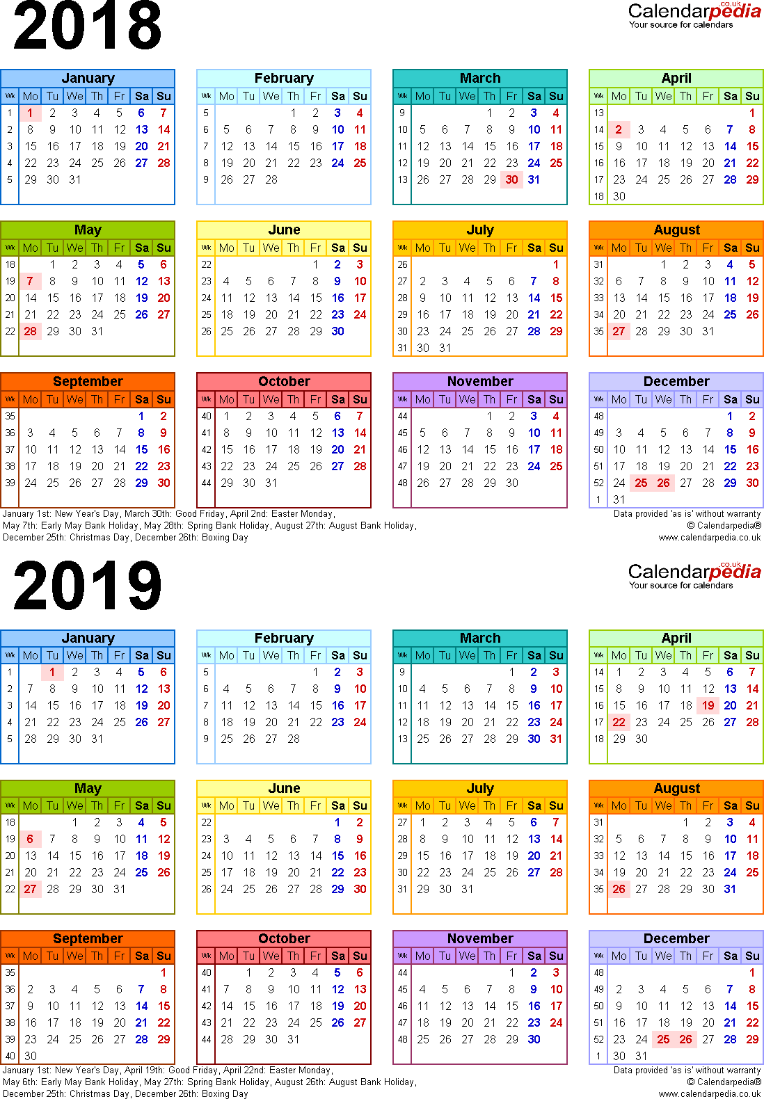 calendars 2018 2019 two year free download other designs and layouts are available at this link
