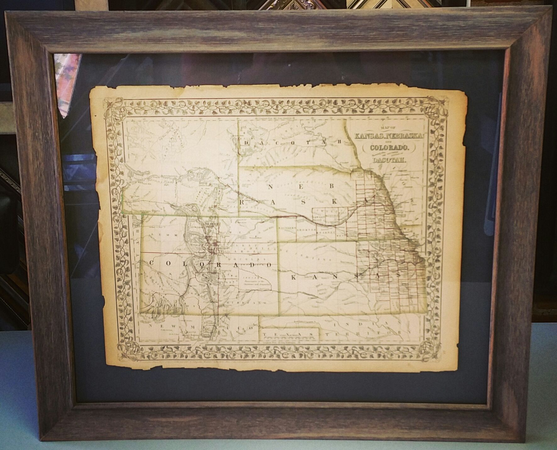 Custom Framed Map Floated On Top Of The Mat To Highlight The Tattered Edges Come See How We Can Make Your Vinta Framed Maps Framing Photography Framed Artwork