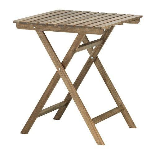Askholmen Table Exterieur Pliable Teinte Brun Clair 60x62 Cm