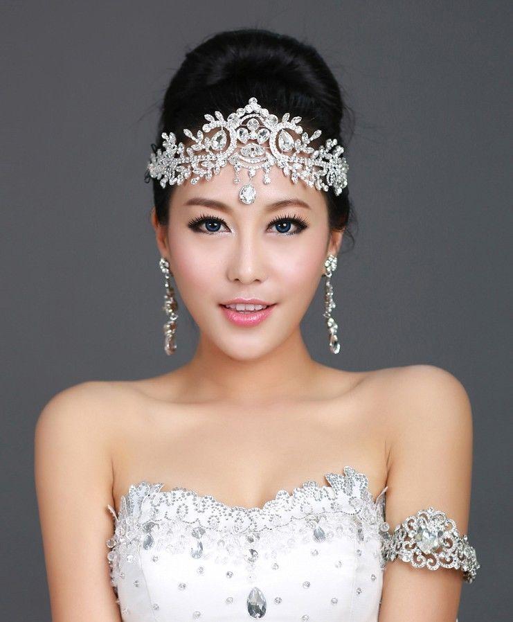 Hairstyles For Wedding Using A Crown: Princess Bridal Wedding Crystal Rhinestone Head Piece