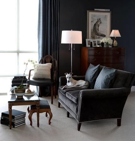Monochromatic Match Curtains To Walls Or Shade Darker In Living Room Like The Black