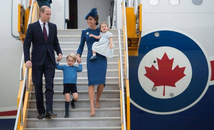 The Duke and Duchess of Cambridge and their children Prince George and Princess Charlotte arrive in Victoria, B.C., on Saturday, Sept.24, 2016.