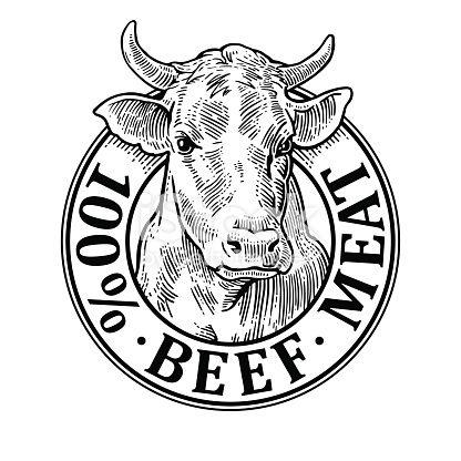 Cows Head 100 Percent Beef Meat Lettering Hand Drawn In A Graphic Logo De Granja Vacas Dibujos De Toros