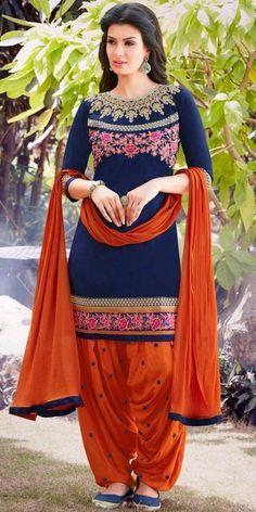 Splendid Navy Blue And Orange Cotton Patiala Suit.