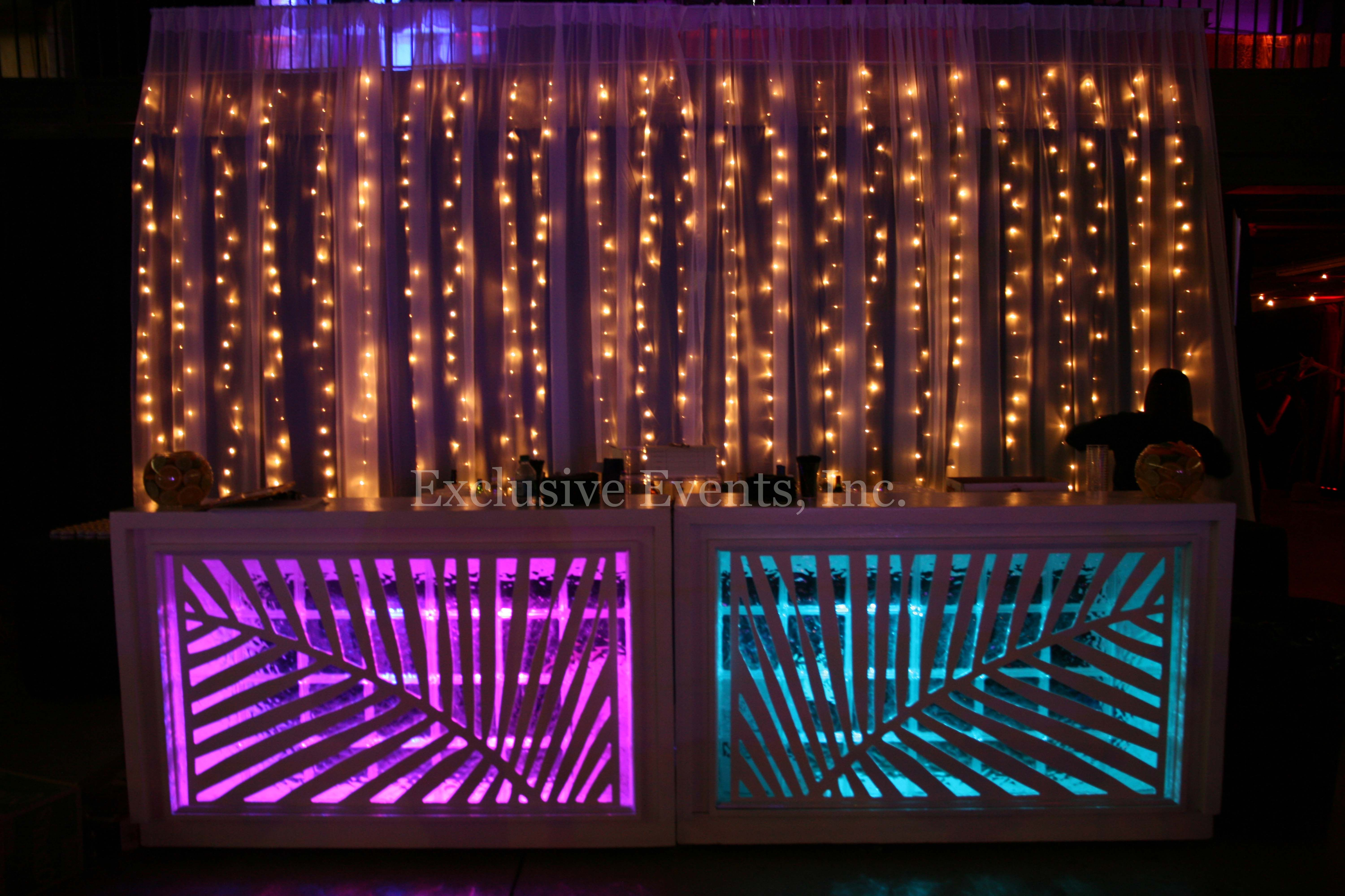 Light Up Bar Twinkle Light Curtain Holiday Party Tiki Modern Glow