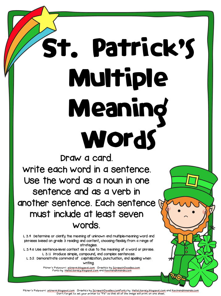 Multiple Meaning Words Anchor Chart (freebies included!) | Anchor ...
