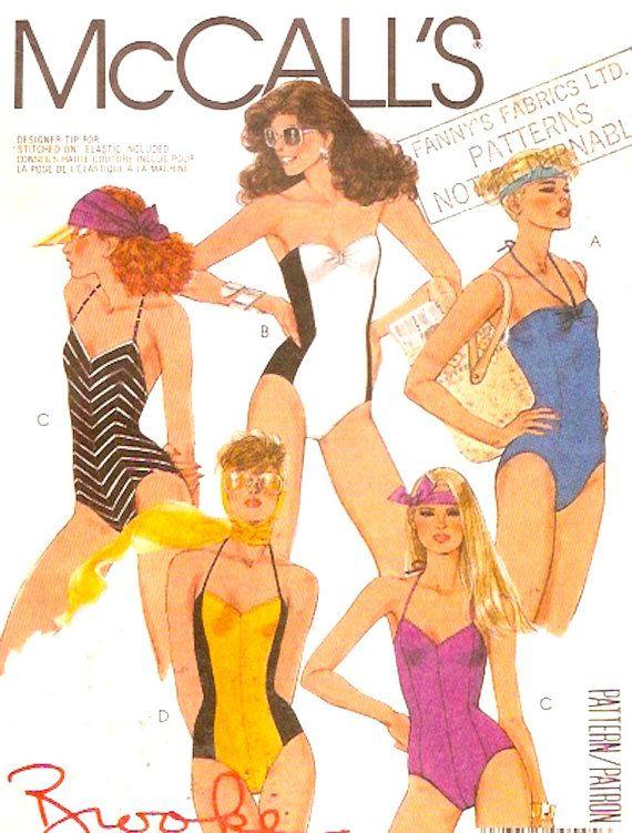 80s Beach Swimsuit sewing pattern Brooke Shields Bathing suit ...
