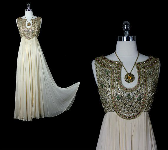 Vintage 50s 60s Mid Century Glamour Goddess Silk Chiffon Beaded  Cocktail Party Wedding Dress.  Etsy