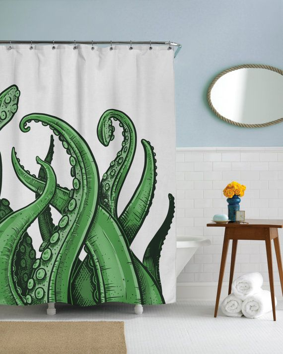 Tentacules Octopus Plage Ocan Cool Rideau De Par CrazyDogTshirts Shower Curtains Funny