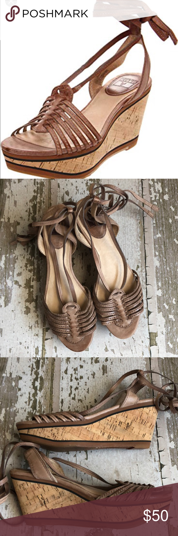 8c6219164a2 Frye Carlie Strappy Sandal Wedges Perfect for summer these like new leather  Frye Carlie strappy wedges tie up at the ankle. Size 7.5. Box not included.