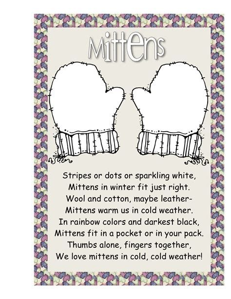 Poems About Mittens - Bing Images | Poetry For Kids