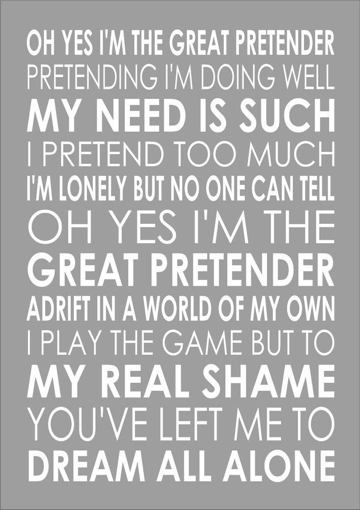 Freddie Mercury The Great Pretender Word Words Song Lyric Lyrics