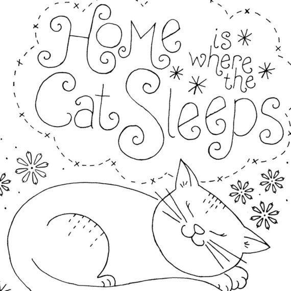 Embroidery Pattern Cat Sleeping | Bordado, Gato y Patrones