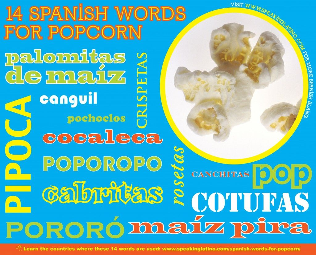 17 Spanish Words for POPCORN: Infographic | SPANISH Learning ...