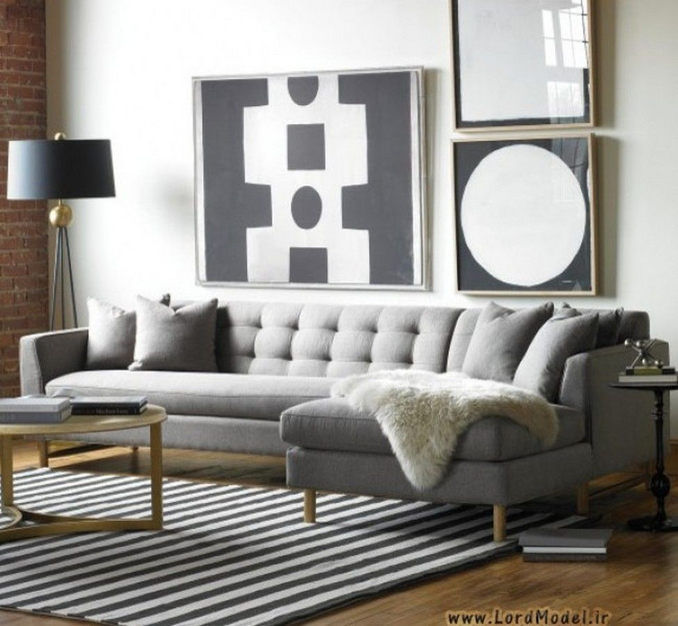 Elegant Contemporary Living Room Design With Edward L Shaped Sectional Gray  Upholstered Sofa And Gold Coffee Table