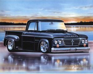 1963 Dodge D100 Stepside Pickup Classic Truck Art Print Black Rat Rods Truck Classic Trucks Pickup Trucks