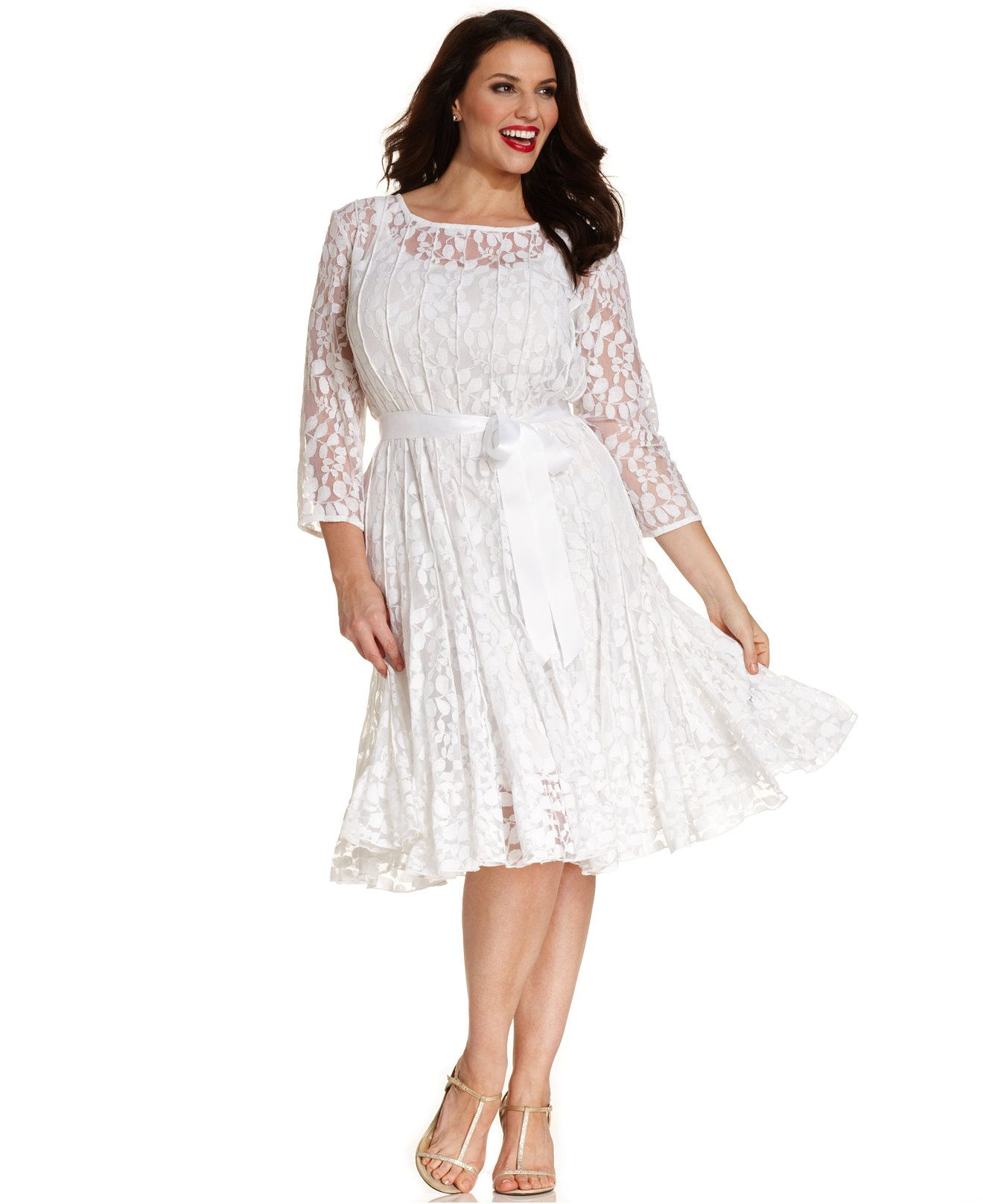 69ddcfcf625 MSK Plus Size Illusion Floral Lace Dress - Dresses - Women - Macy s ...