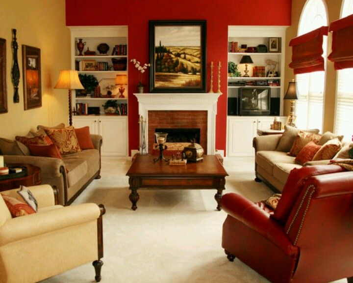 Maybe They Could Paint An Accent Wall Red Fireplace Wall Would Work Living Room Red Living Room Colors Traditional Family Rooms