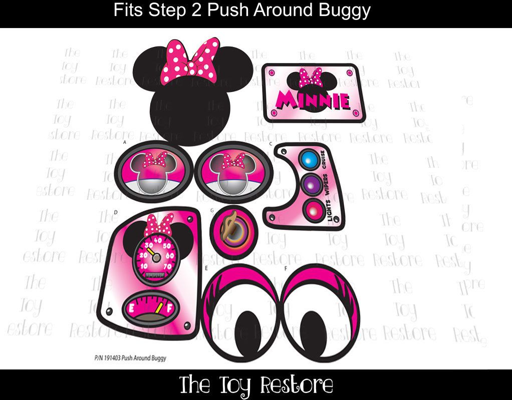 New replacement decals stickers fits step2 push around buggy 2 car wagon minnie by thetoyrestore on etsy