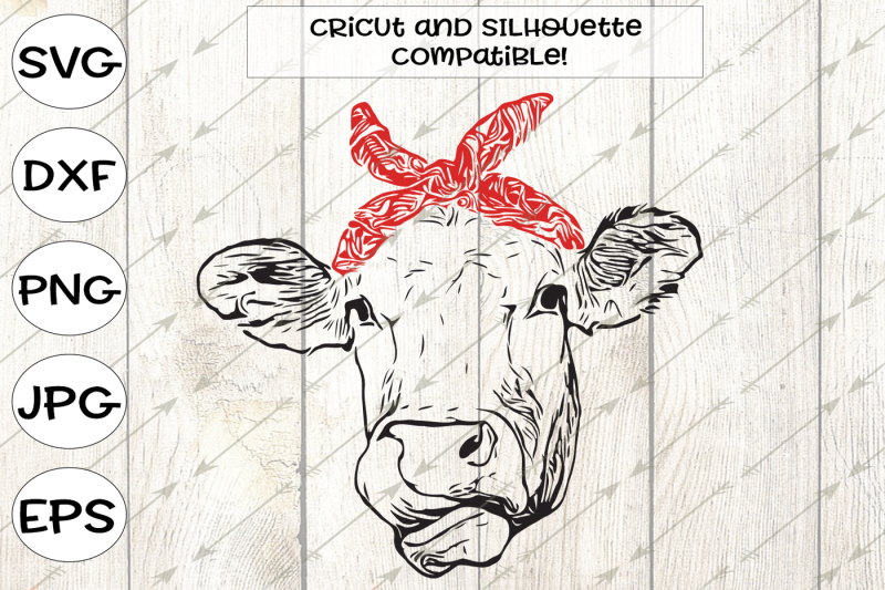 Free Cow svg, cow clipart, cow face svg, bandanna, heifer