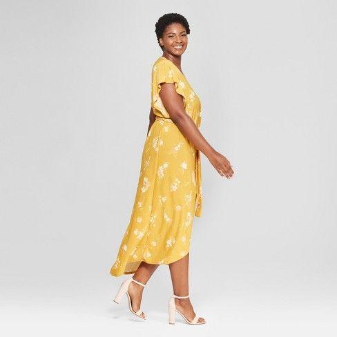 Women\'s Plus Size Floral Print Wrap Dress - Ava & Viv™ Yellow ...