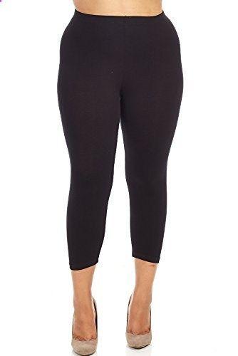 bozzolo womens ladies plus size capri leggings 2xl, black go to