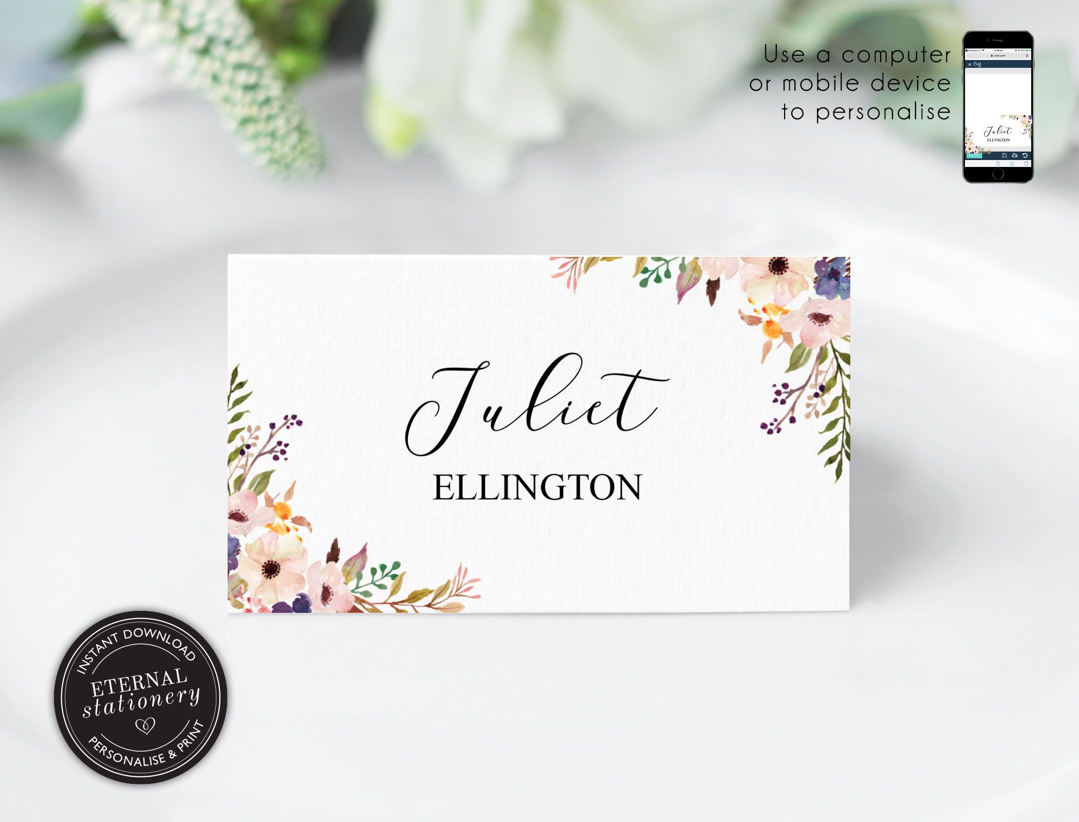 Editable Place Card Template Floral Watercolor Wedding Place