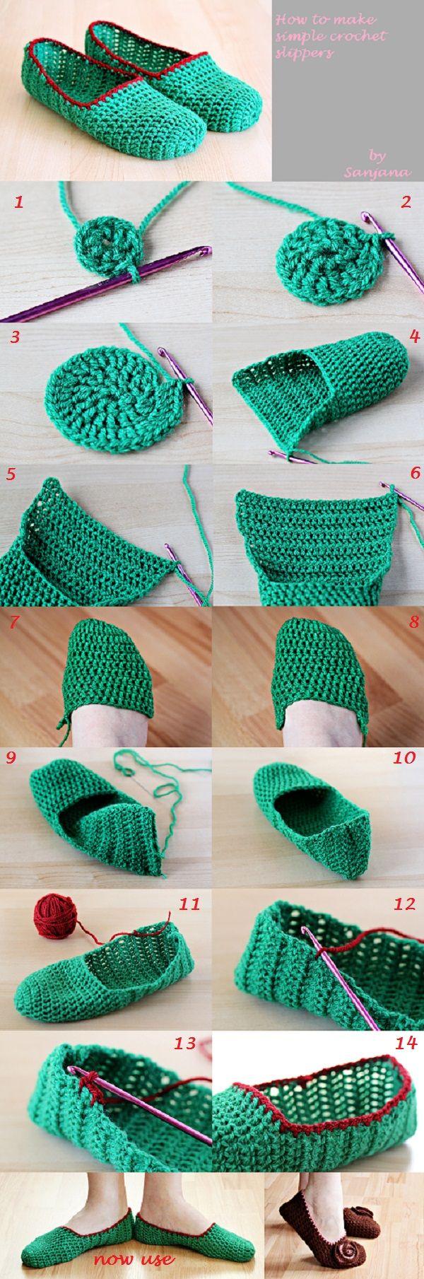 How to Make Simple Crochet Slippers | Yo quiero estos!! | Pinterest ...