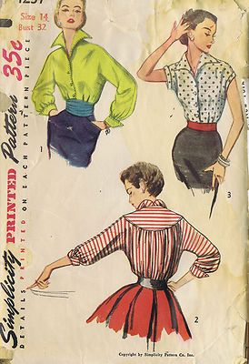 Vintage 50's Blouse Pattern in Three Versions    The front of the Blouse pattern and collar are cut in one, the back is gathered to a deep yoke and kimono sleeves are featured.  View 1 has long sleeves gathered to a pointed cuff.  Top stitching or saddle stitching trim Blouse.  View 2 has three quarter length sleeves gathered to sleeve bands and turned back cuffs.  Top stitching or saddle stitching used as trim.  View 3 has short sleeves with cuffs.