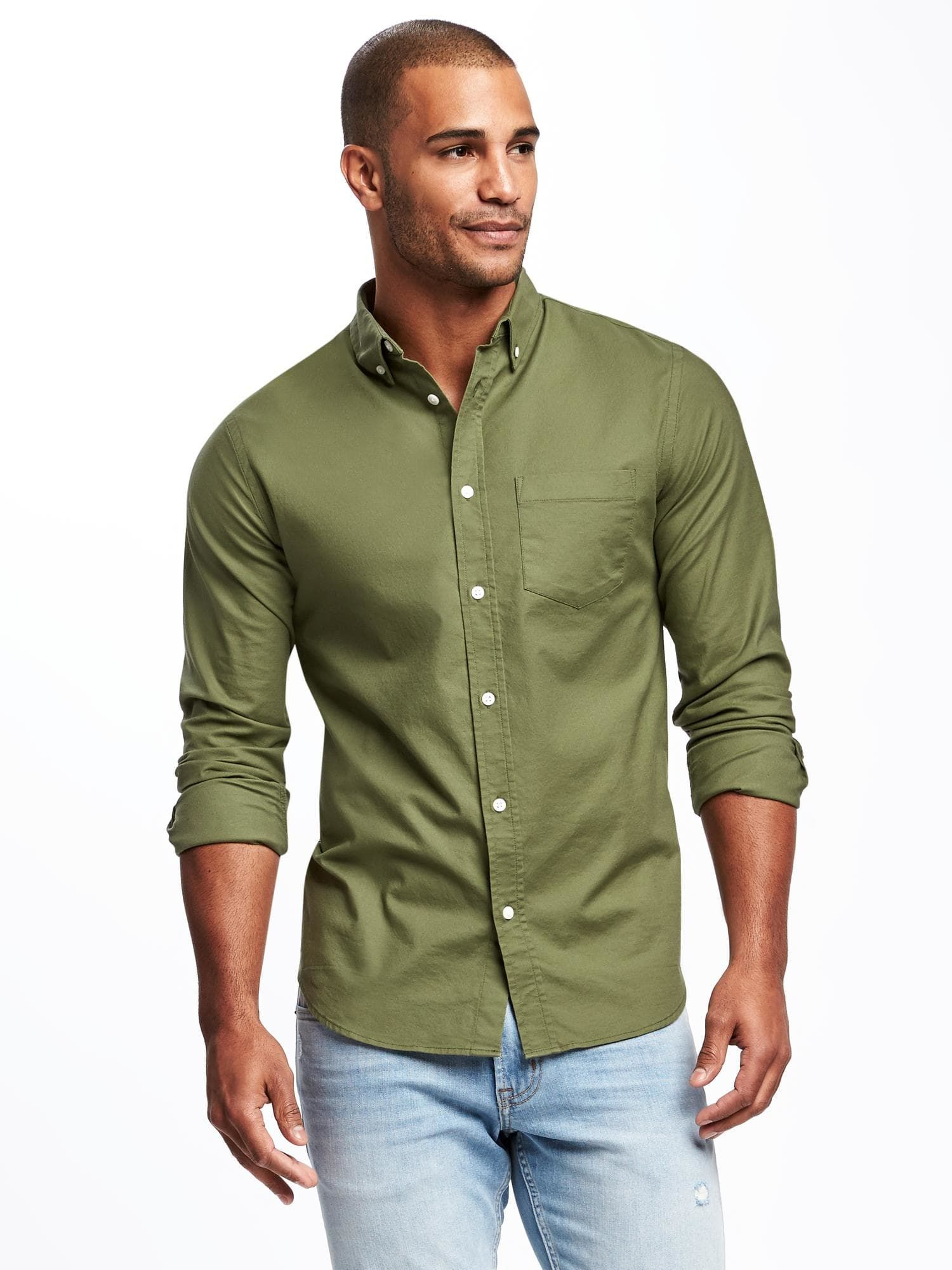 Slim Fit Built In Flex Everyday Oxford Shirt For Men Old Navy Mens Shirts Oxford Shirt Mexican Outfit