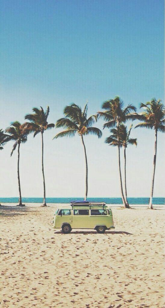 Vw Bus On The Beach Beach Vibe Surfing Summer Vibes