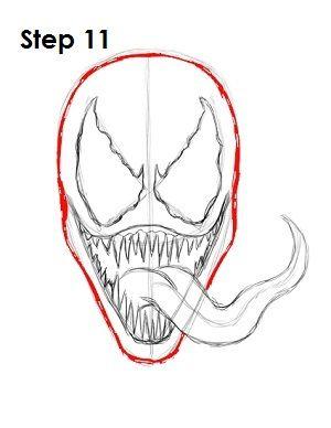 How To Draw Venom Step 11 Drawing Tutorial Pinterest Marvel