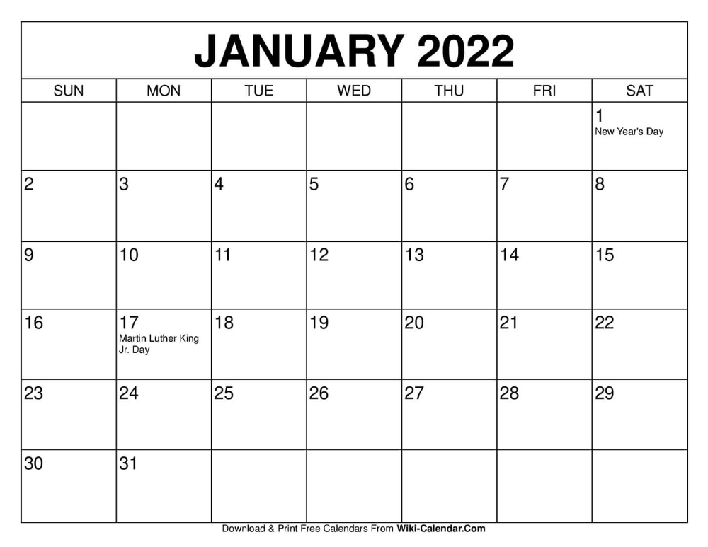 January 2022 Calendar.January 2022 Calendar Print Calendar Calendar Printables January Calendar