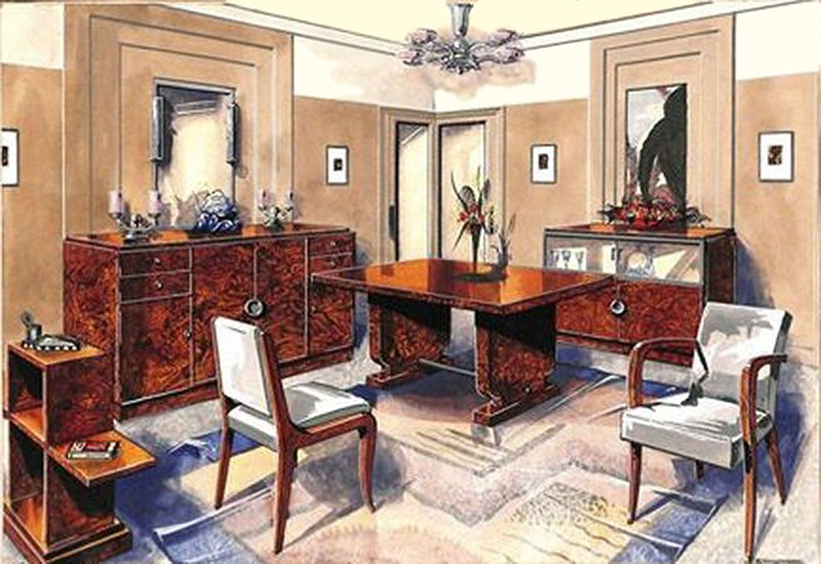 Un R De Deco french art deco: esquisse de l'aménagement d'un salon en