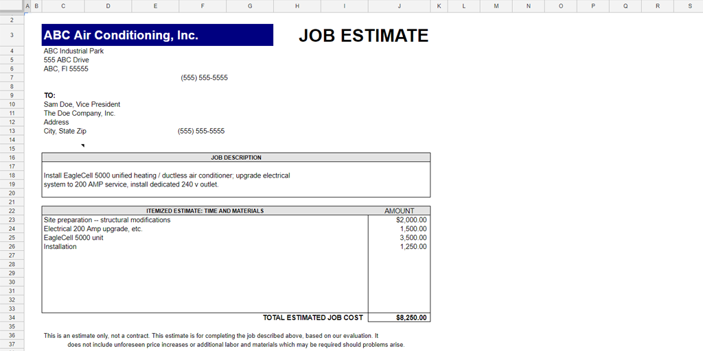 Free Estimate Template Quotetemplates Job Estimate Template Estimate Template Best Templates Job Quotes