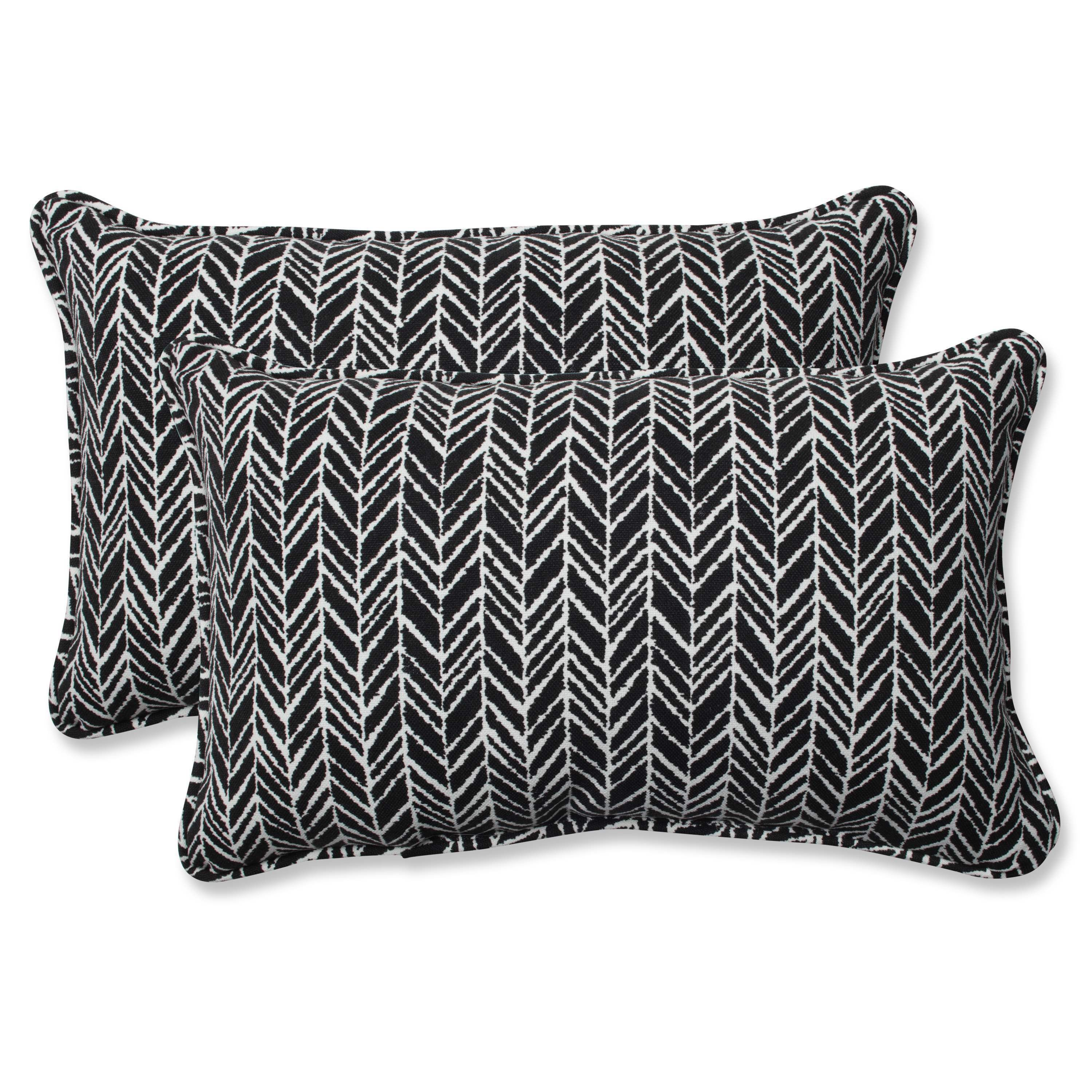 Pillow Perfect Outdoor Indoor Herringbone Night Rectangular Throw Pillow Set Of 2 24 5x16 5 Black Polyester Chevron Outdoor Cushion Products Perfect Pillow Throw Pillow Sets Pillow Set