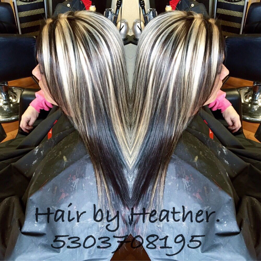 Dark Brown With Chunky Platinum Highlights Burgundy Blonde Hair