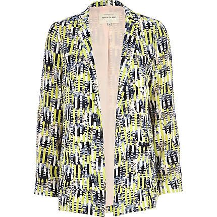 Lime abstract stripe print blazer £48.00 at River Island