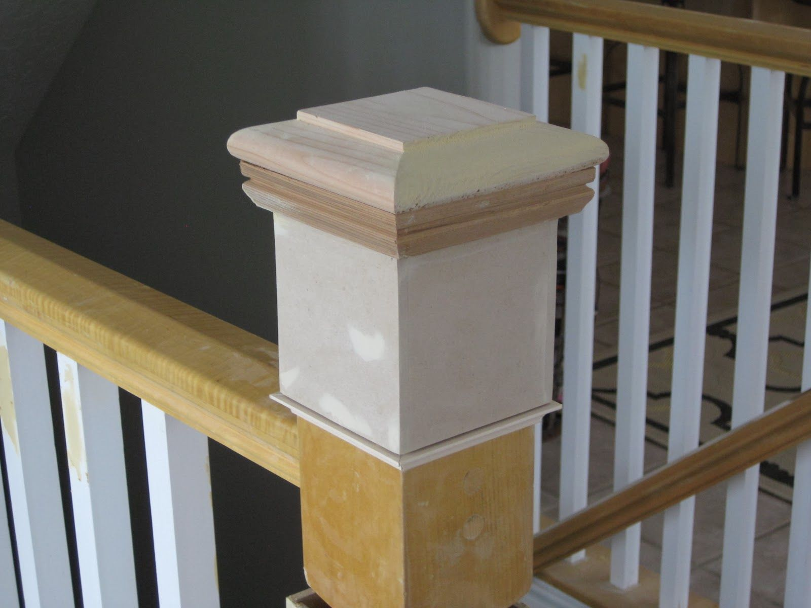 Newel Post Diy Tda Decorating And Design Featured On Remodelaholic Diy Stairs Stair Banister Diy Stair Railing
