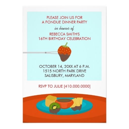16th Birthday Fondue Dinner Party Invitations